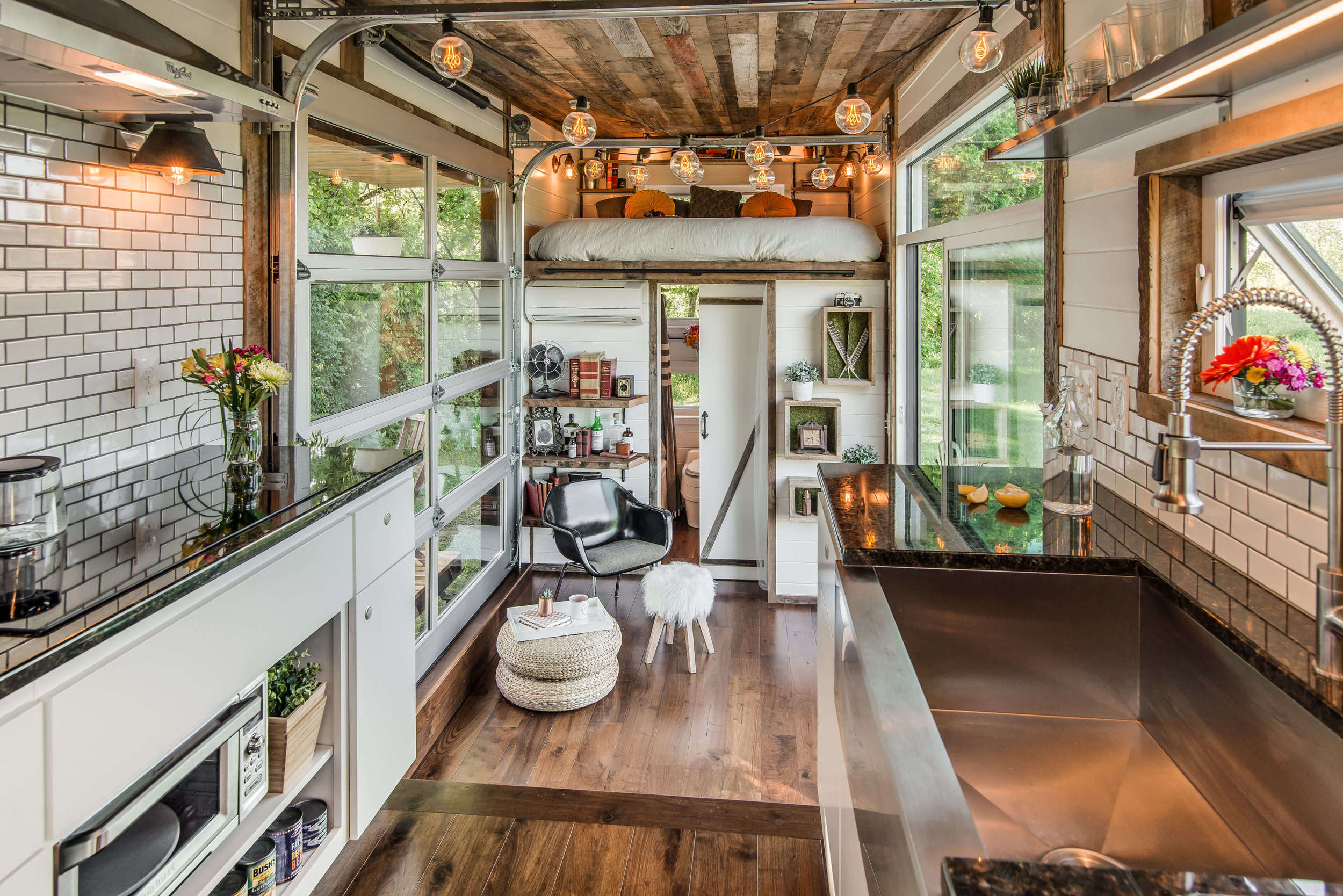 View toward kitchen the alpha tiny home by new frontier tiny homes - Tiny Houses For Sale Floor Plans Listings New Frontier Tiny
