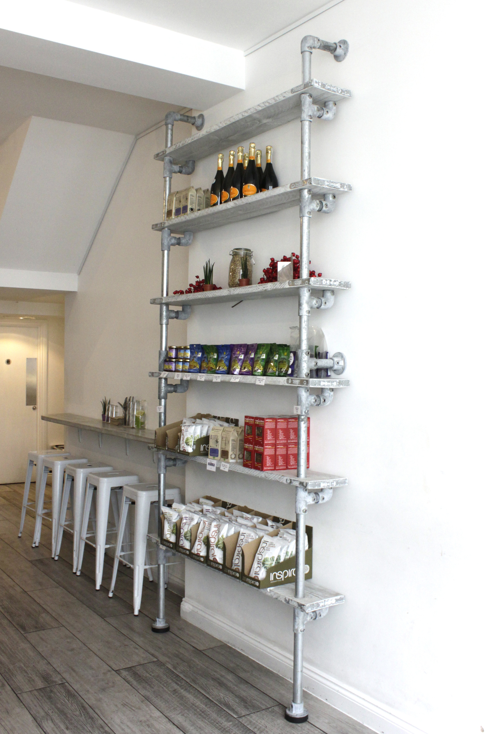 reclaimed tables and scaffolding shelving unit for Nama, Notting Hill, 2014