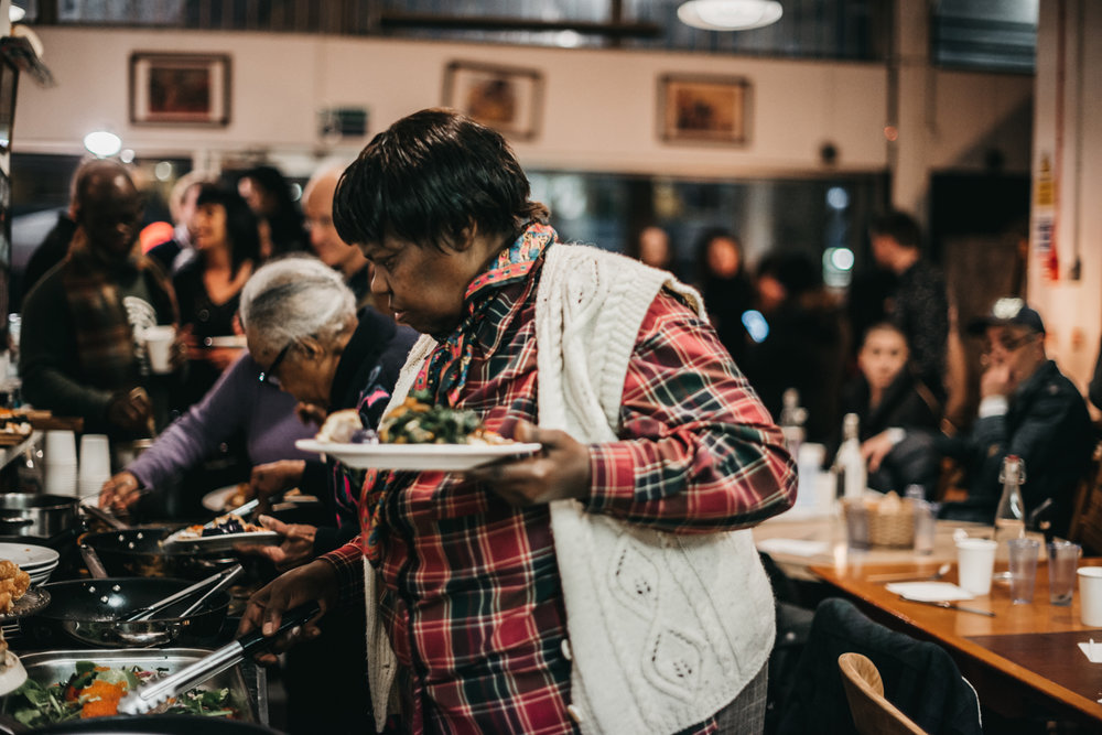 Guests tucking into their feast.  Photography by Sabrina Dallot-Seguro.