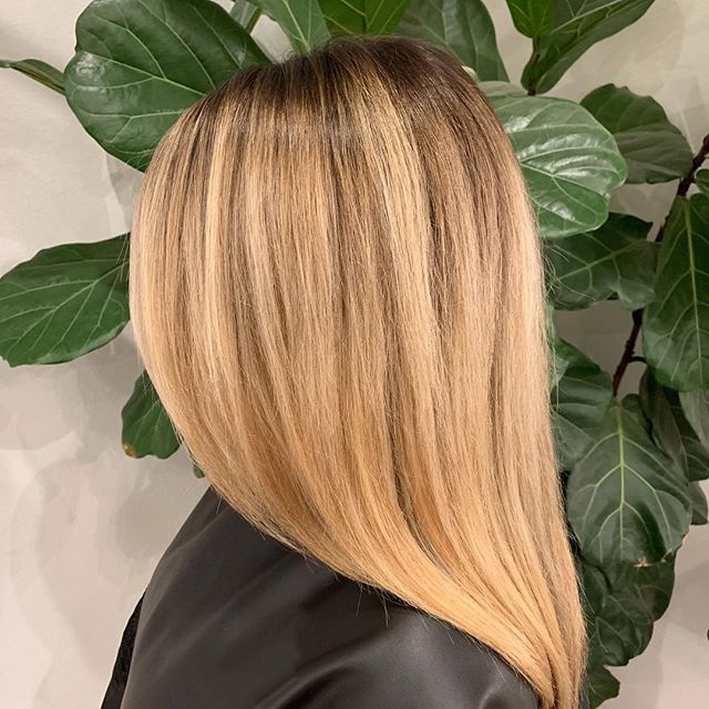 Teasylights with a shadow root and gloss for that refreshed, but lived-in look. By stylist @bellissimahairbygio