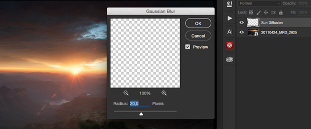 Gaussian blur dialog box.