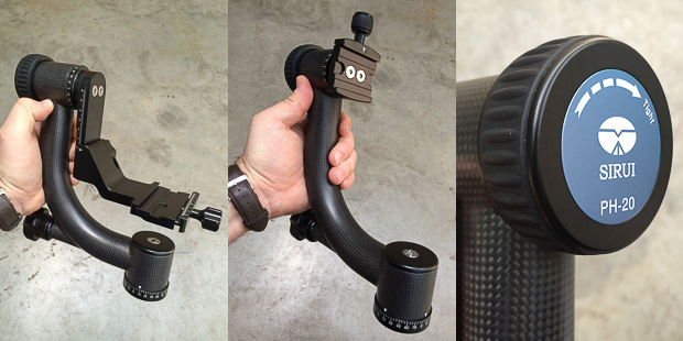 Full Gimbal configuration, vertical bracket configuration and the rubber tilt-locking knob.