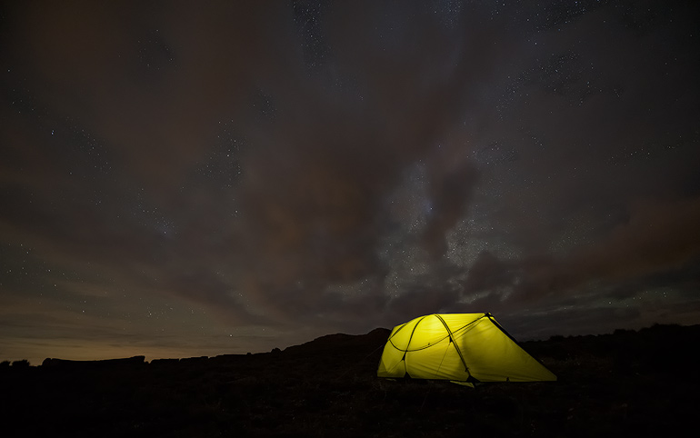 My tent under the night sky at our camp at Ribbon Falls. You can just see the top of the Eastern buttress to the left of the picture.