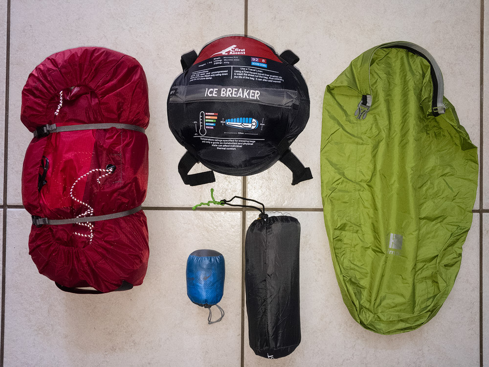 My shelter and sleeping gear for hikes.