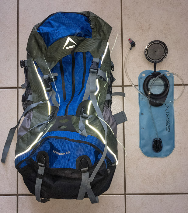 The backpack and hydration pack I use for hikes.