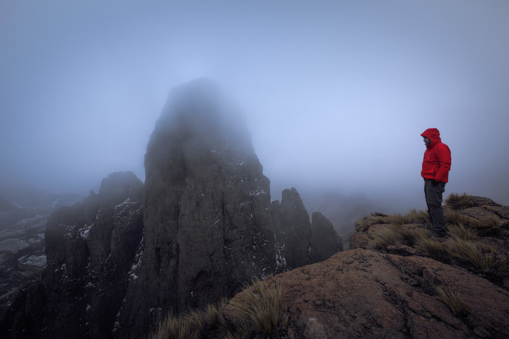 Self Portrait Drakensberg Mnweni Mponjwane Snow Mist Mountain Adventure Landscape Photo Jacket Red Hike Hiking