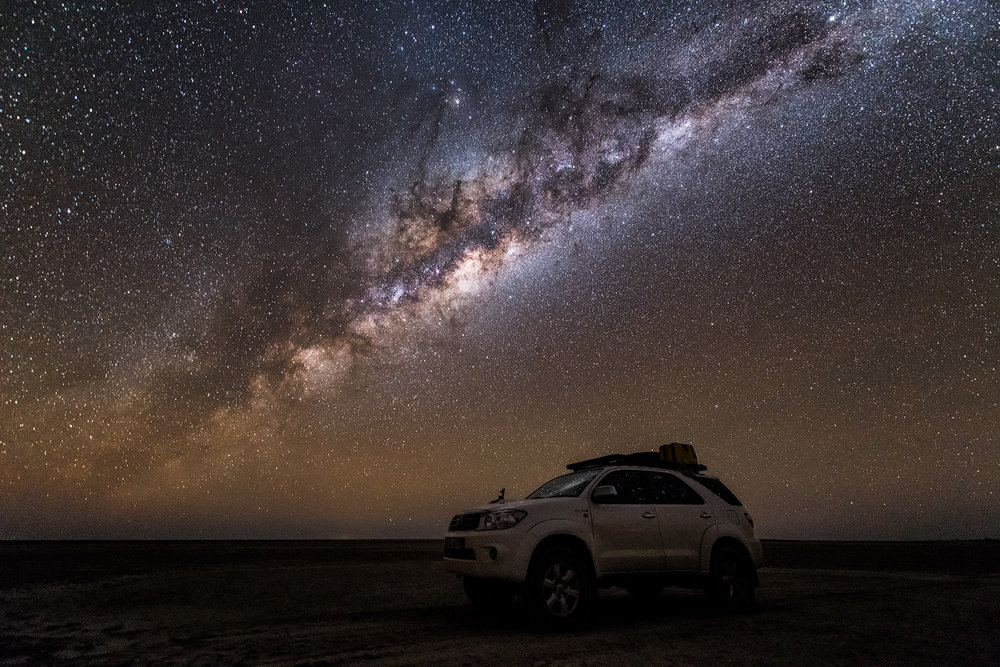 Kubu Island Star Vehicle Toyota Fortuner Milky Way Night Photography Botswana Makgadikgadi Photo