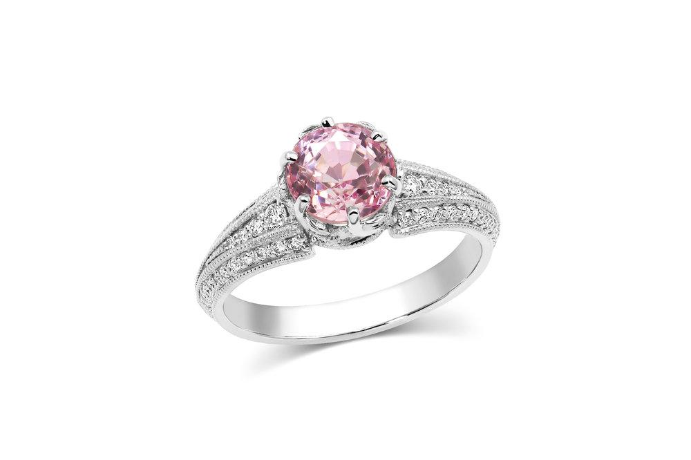 Pink sapphire and diamond engagement ring ~ 1.94 carat pink sapphire ~ Ann Elizabeth Jewelry