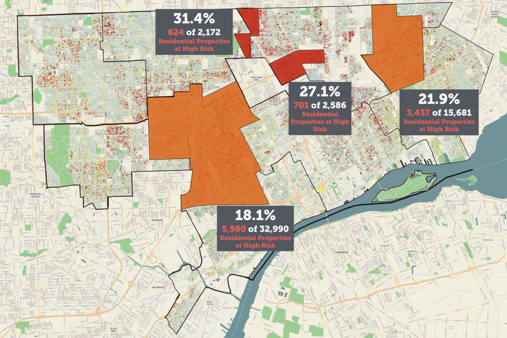Areas of the city where at-risk properties are clustered.