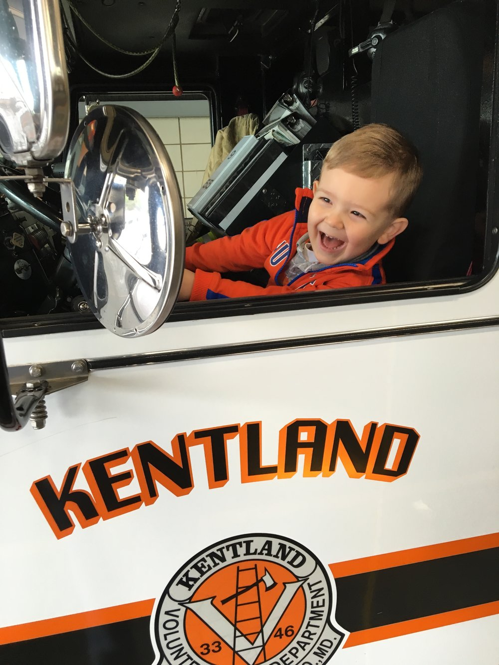 Channing driving Daddy's firetruck!