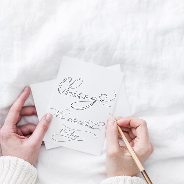 I'm off again for another trip to one of my favorite cities. 🛫  Praying for anything over zero degrees. 🌨 . . . . . #kristyelizabethdesign #handlettered #modernscript #pencillettering #chicago #thesecondcity #luxurystationery #stationarylove #chicagoland #chicagolife #chicagolove #travelingmom #concretejungle #handletteringtype #greetingcard #postitfortheaesthetic #seekthesimplicity #designspiration #sodomino #typographyinspired #typeeverything #thedesigntip #typography #typographydesign #typematters #artoftype #typegang #typespire #typespiration #handdrawnfont
