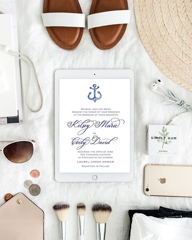 Proofing designs (I already see things that need to be edited! 🤦🏼♀️) and feeling like it's a heat wave with the temperature being 30 degrees! — If you love what you see 😍 this semi custom invitation suite will be available for purchase in my shop soon! ⚓️ . . . . . #kristyelizabethdesign #kedbride #nauticalwedding #seekthesimplicity #navywedding #seekthesimplicity #modernscript #ipadlettering #digitalhandlettering #trendybride #procreateapp #weddinginvitation #weddingcalligraphy #weddingcalligrapher #weddinginspo #weddinginvitations #marylandcalligrapher #annapoliswedding #semicustom #luxurystationery #weddingstationery #thedailywedding #greylikesweddings #smpwedding #theknot #100layercake #ruffledblog #shesaidyes #stylemepretty #weddingideas