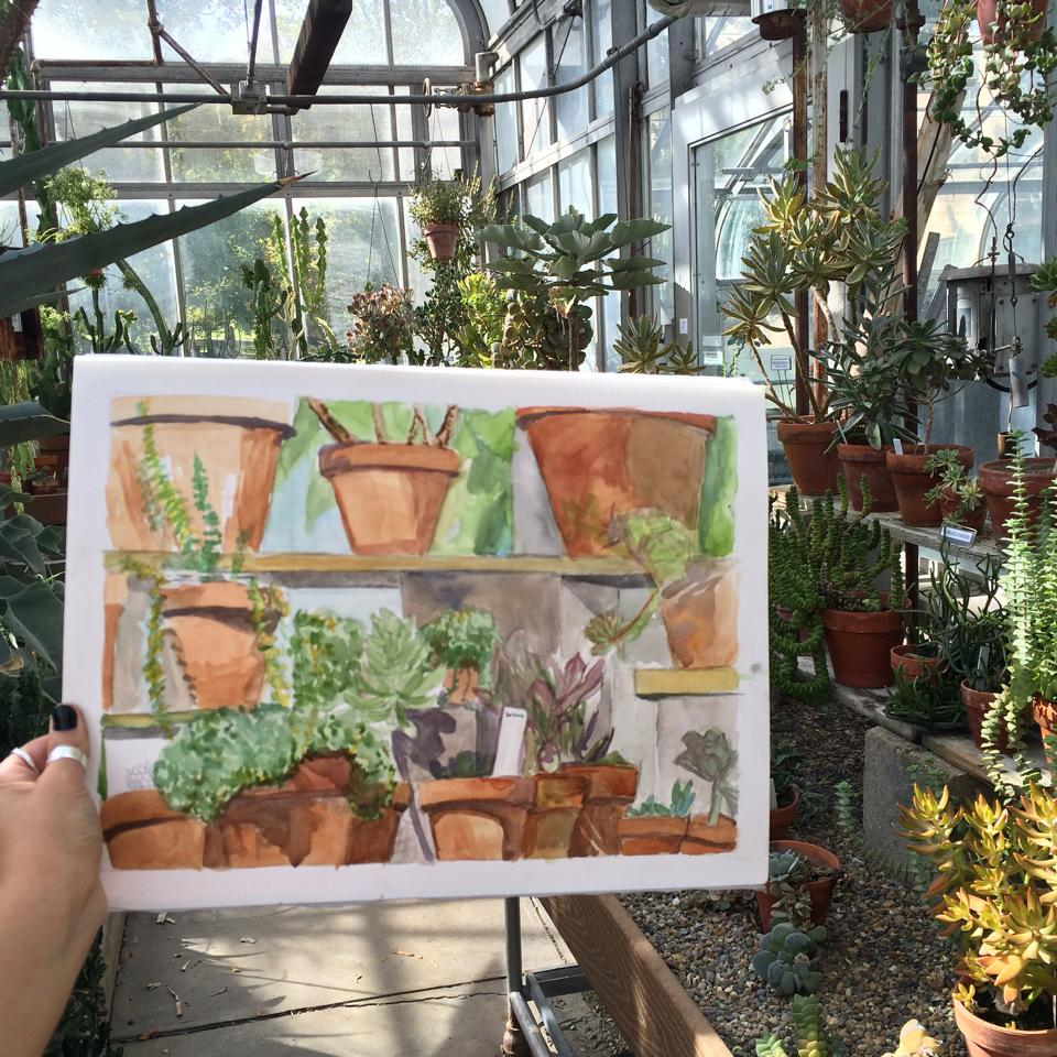 The painting from my first experience in the IU Jordan Hall Greenhouse in 2014