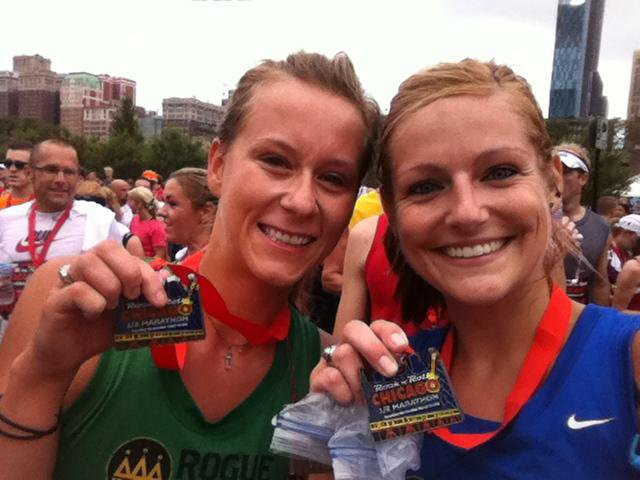 Finishers at the Chicago Half Marathon in 2011.  1:58.59. Goal accomplished.