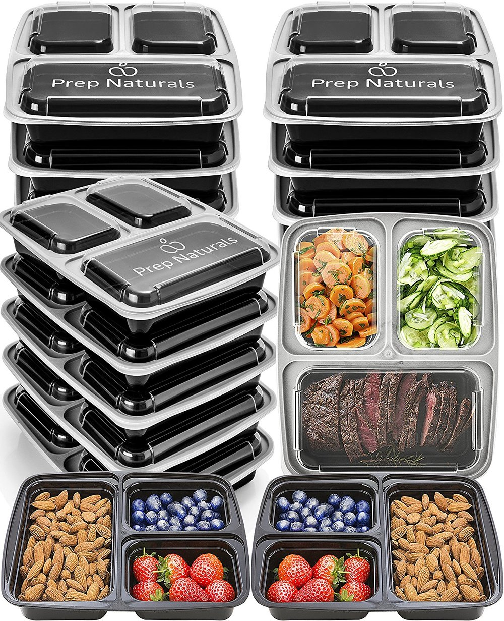 bento box 3 compartment meal prep containers