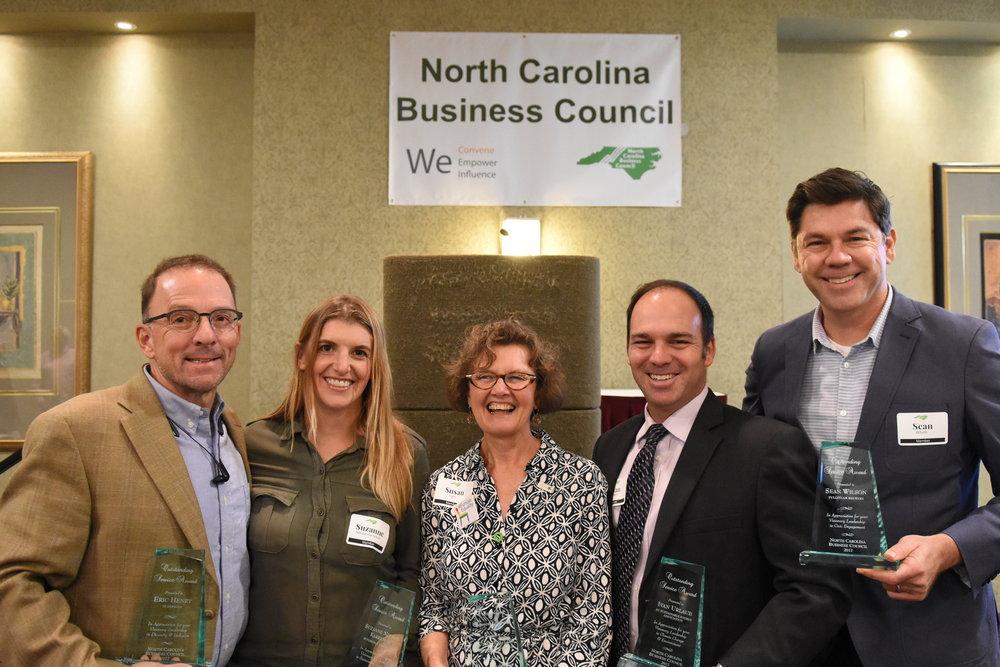 2017 NCBC LiVE Award Recipients: Eric Henry, Suzanne Nelson Karreman, Susan Inglis, Ivan Urlaub, Sean Wilson.