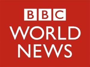 Het logo van BBC World News, gezet in de Gill Sans