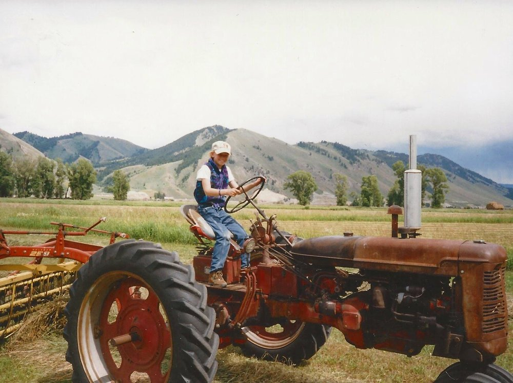 NIKKI (AGE 10)DRIVING A 1950 FARMALL TRACTOR ON THE JACKSON HOLE HEREFORD RANCH.