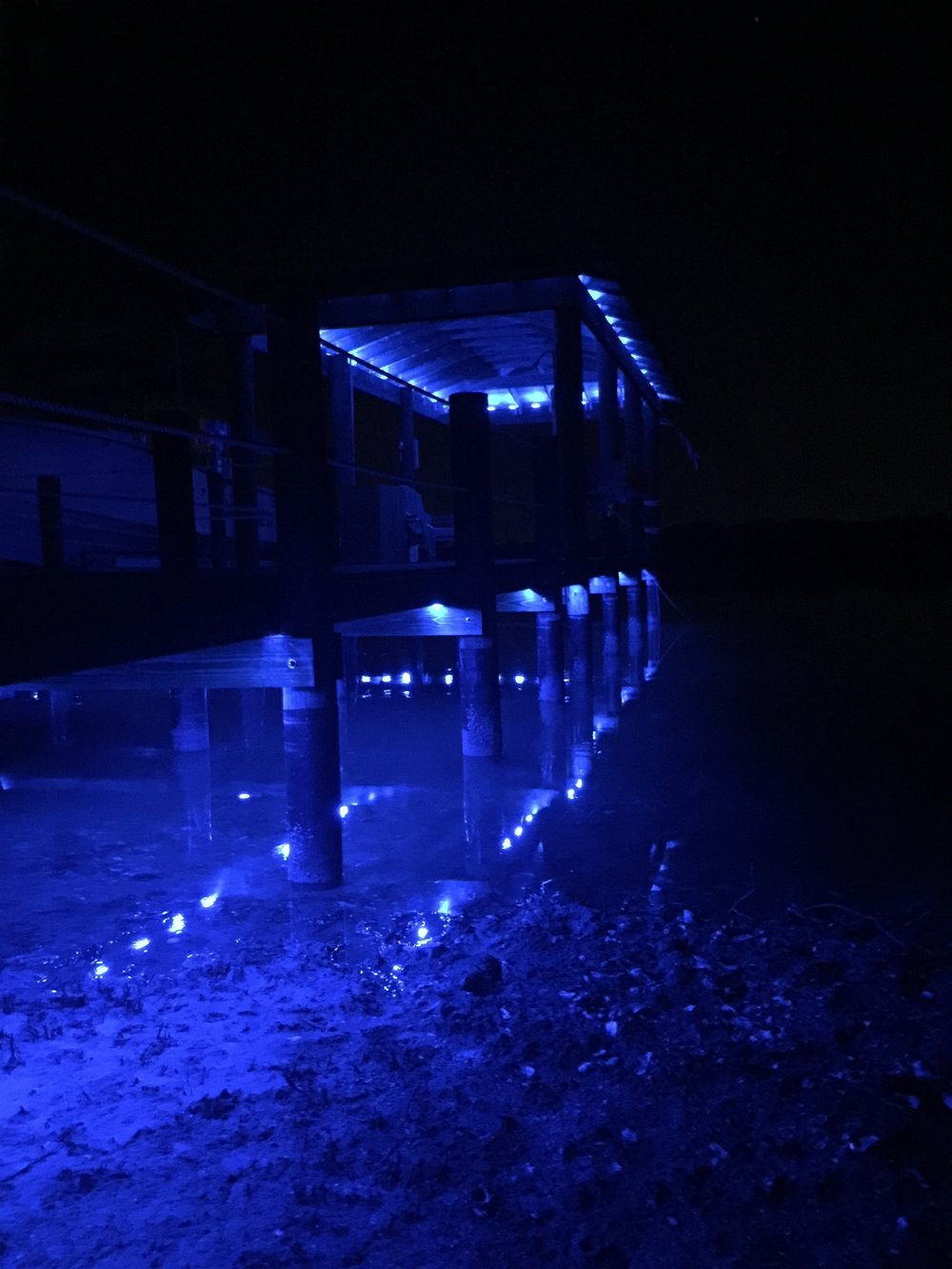Lights made to highlight docks on water.