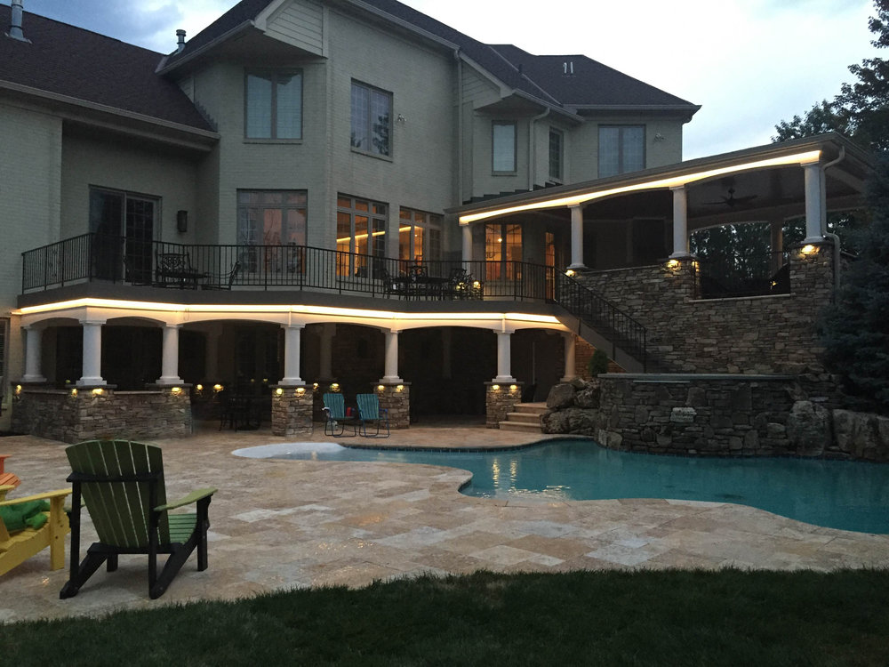 Outdoor patio lights in classic warm white.
