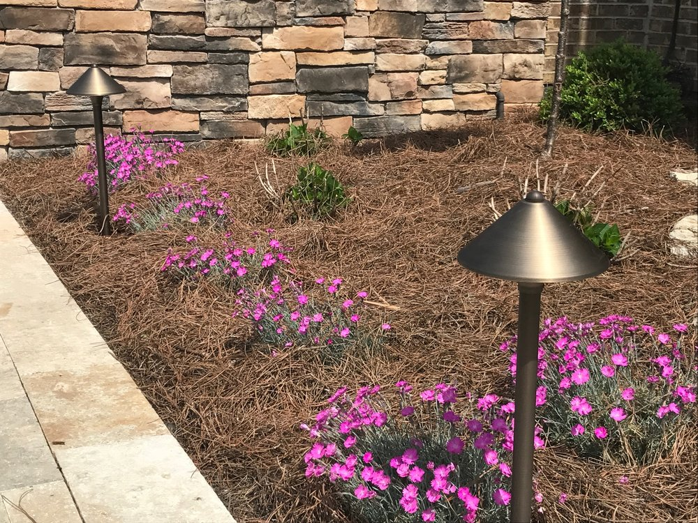 Outdoor LED Path Lights in color and white.