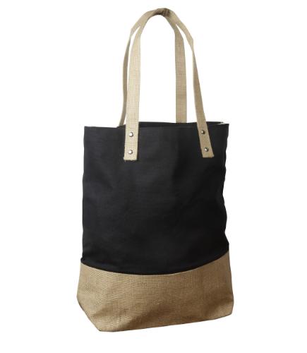 TWO TONE JUTE BAG - $15