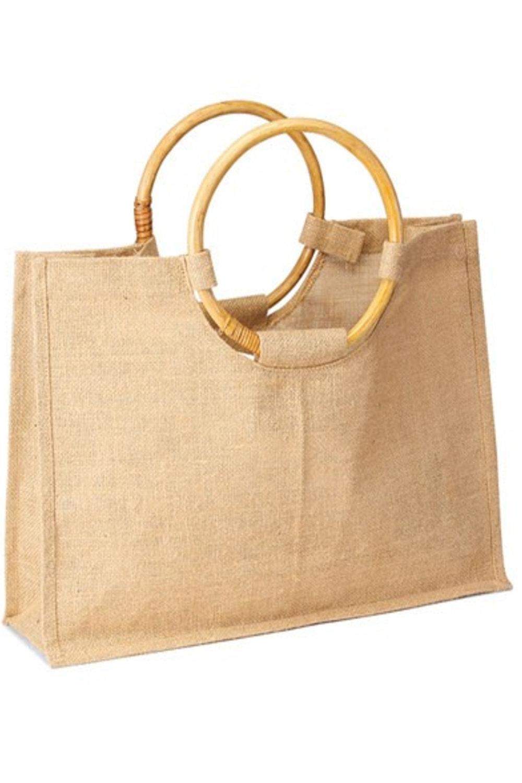 Jute Tote w/Cane Handles - Blank - $15 / w/ Logo - $2125 Bag Minimum