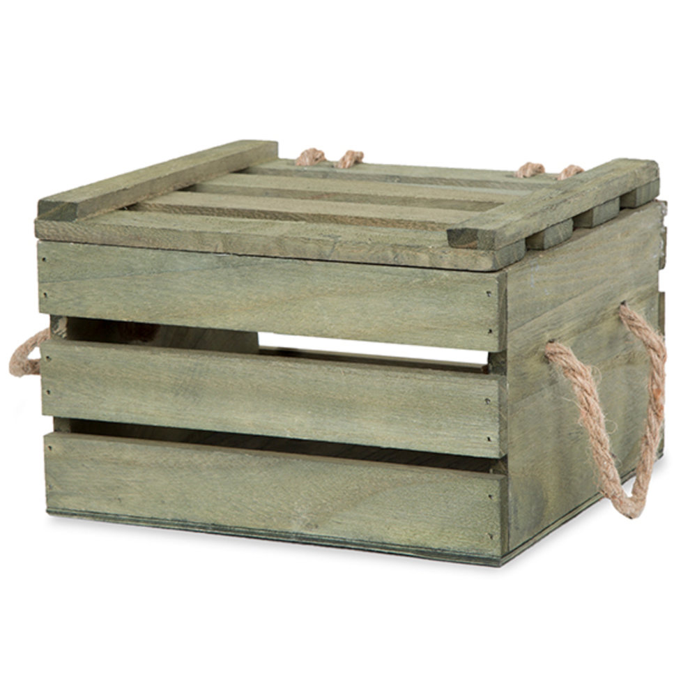 Antique Wooden Crate - $13Green / Natural / Brown