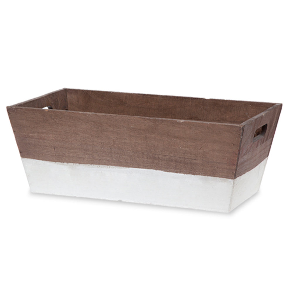 Two Tone Wood Basket - $16Brown w/ White, Black or Red