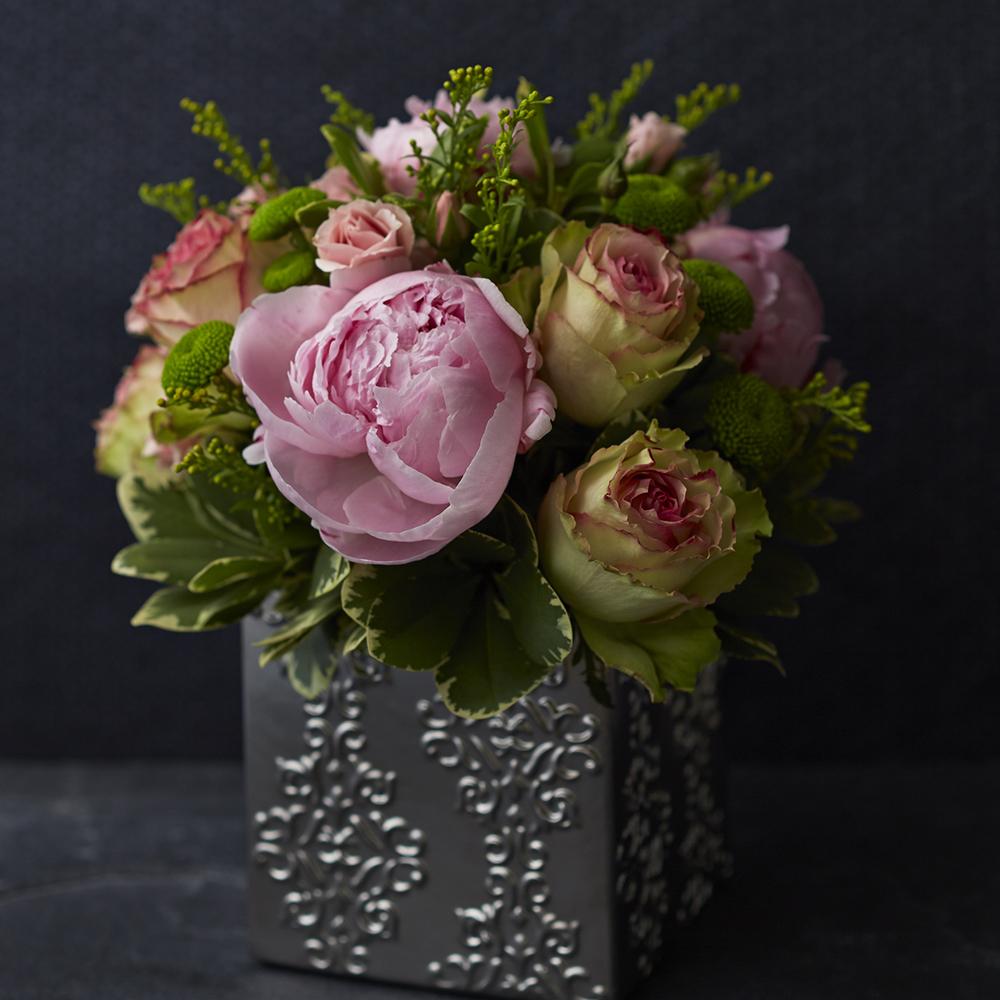Dearest Pinks   Elegant centrepiece featuring spring peonies & Esperance roses