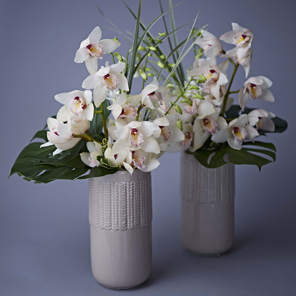 Cool Tropicals | Display arrangements featuring cymbidium & dendrobium orchids