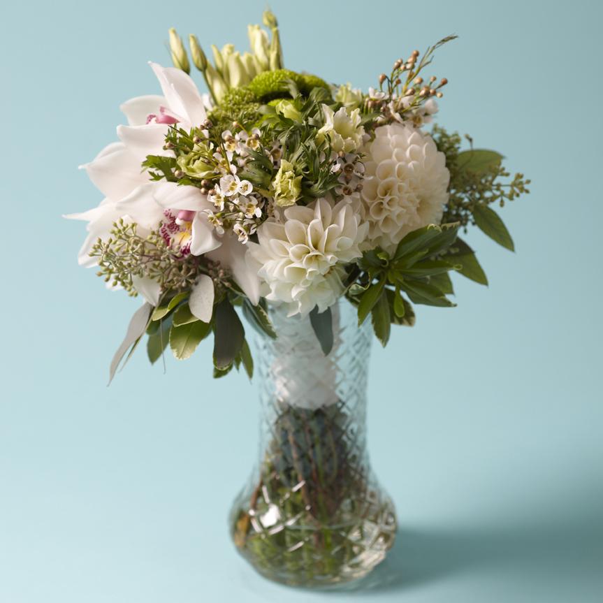 Genteel Whites | Bridal bouquet featuring cymbidium orchids & dahlias