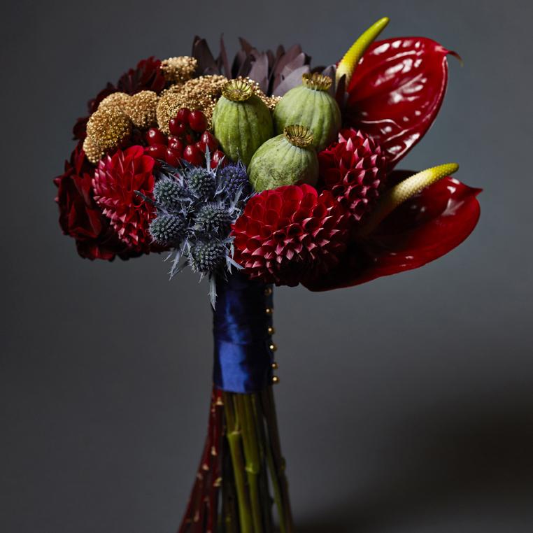 Crimson & Gold | Bold, sculptural bouquet