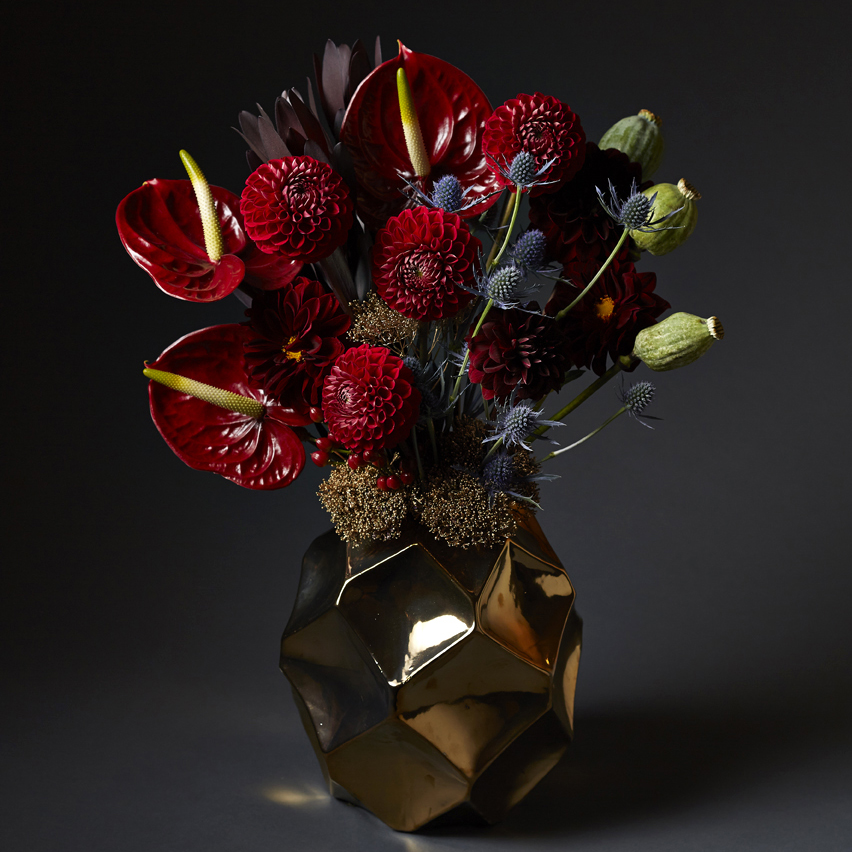 Crimson & Gold | Structured vase florals