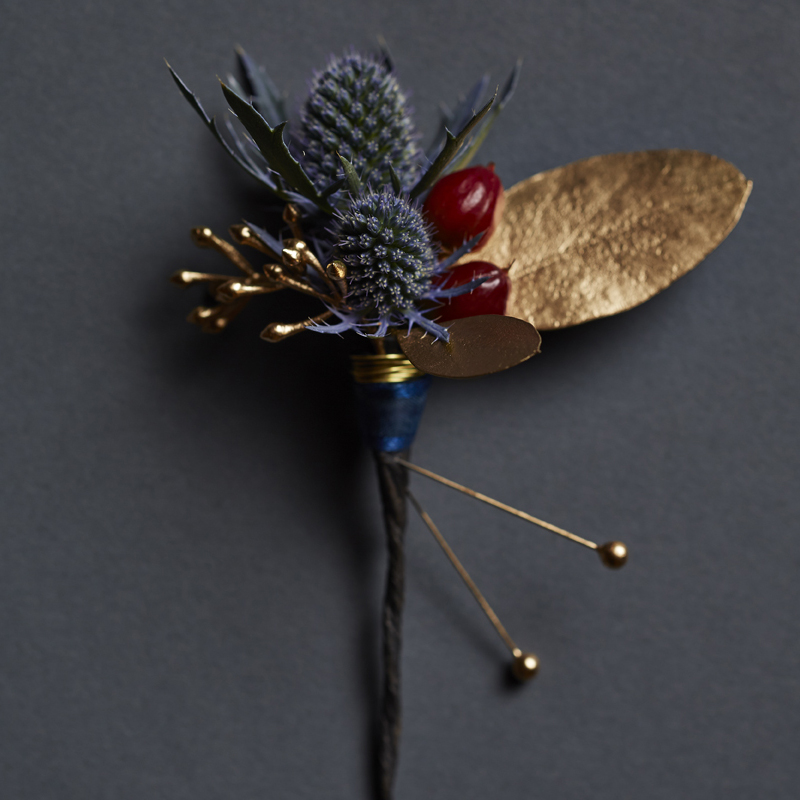Crimson & Gold | Elegant wintry boutonnière