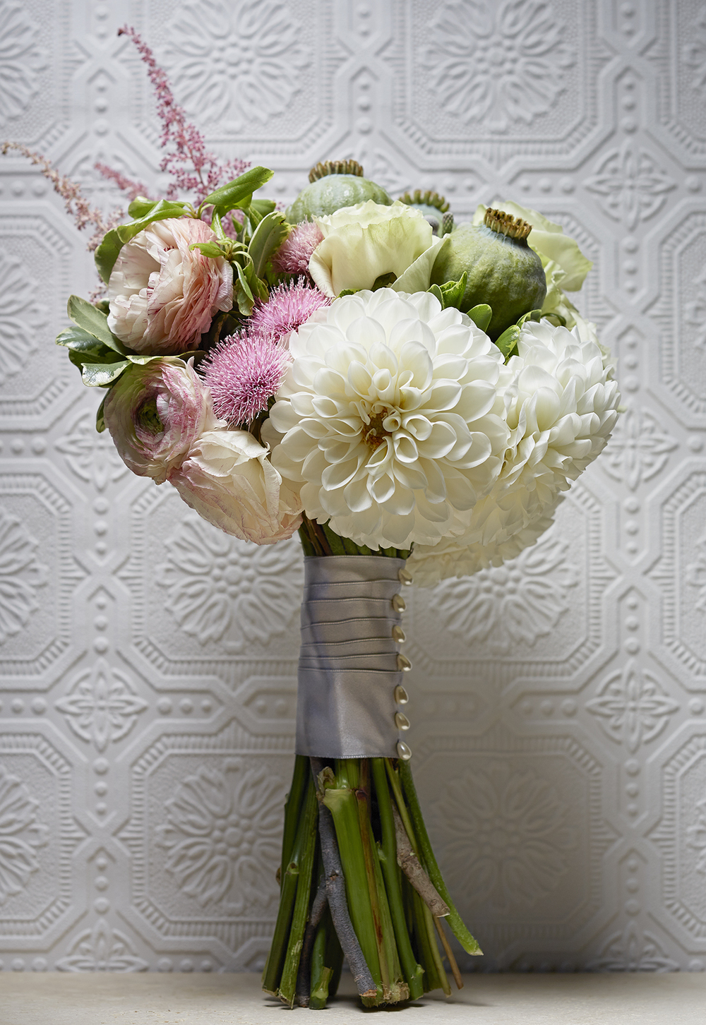 Regal White | Architectural bouquet featuring dahlias & poppy pods
