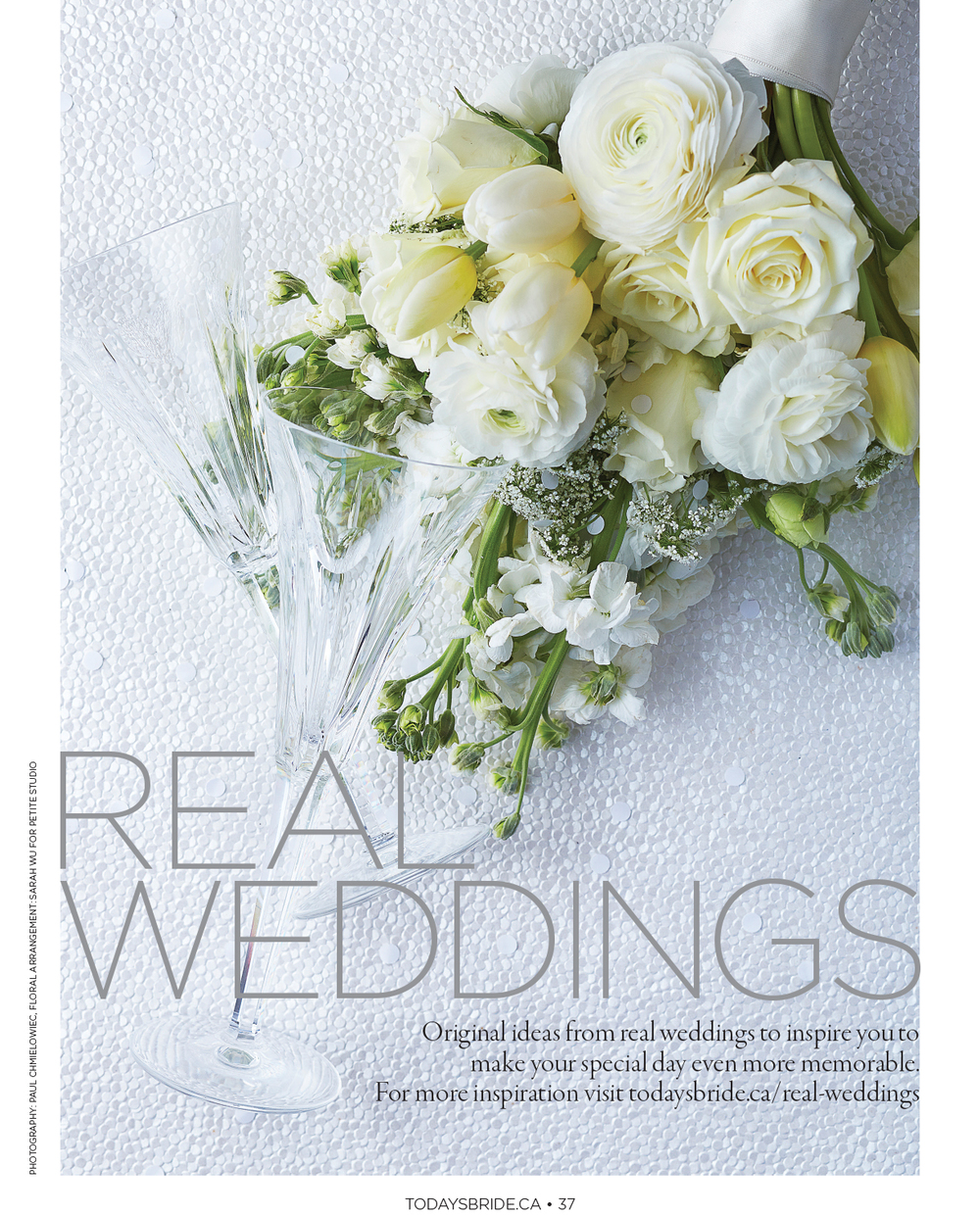 """Real Weddings.""  Today's Bride,  Fall/Winter 2015.   Photo: Paul C. Art Direction & Product Styling: Susan Rogers"