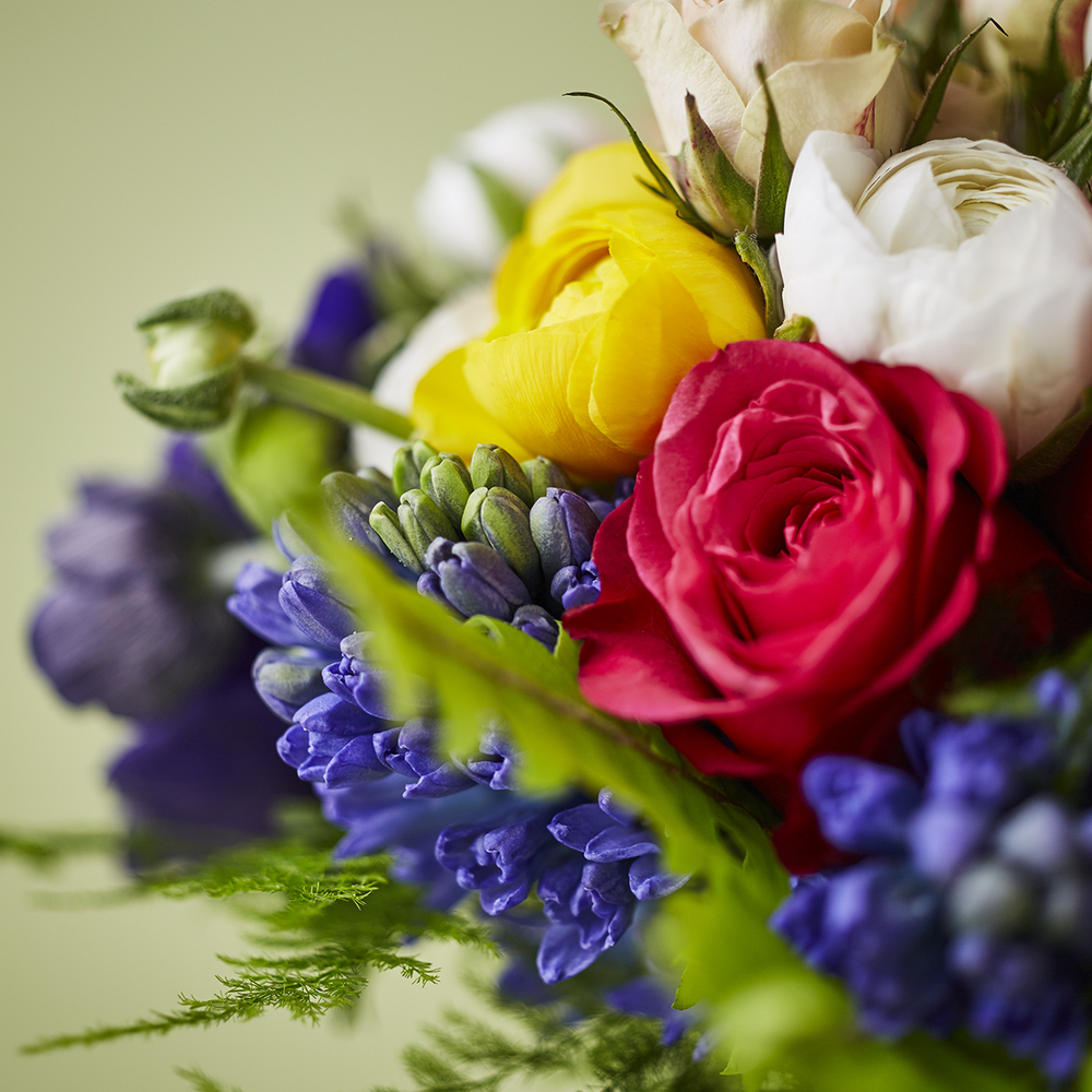Spring Brights | Detail of ranunculus & hyacinth