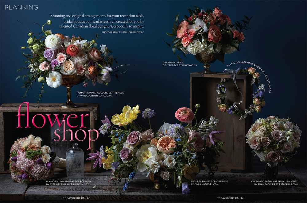 """Flower Shop.""  Today's Bride , Fall/Winter 2016. Photo: Paul C. Art Direction: Susan Rogers"