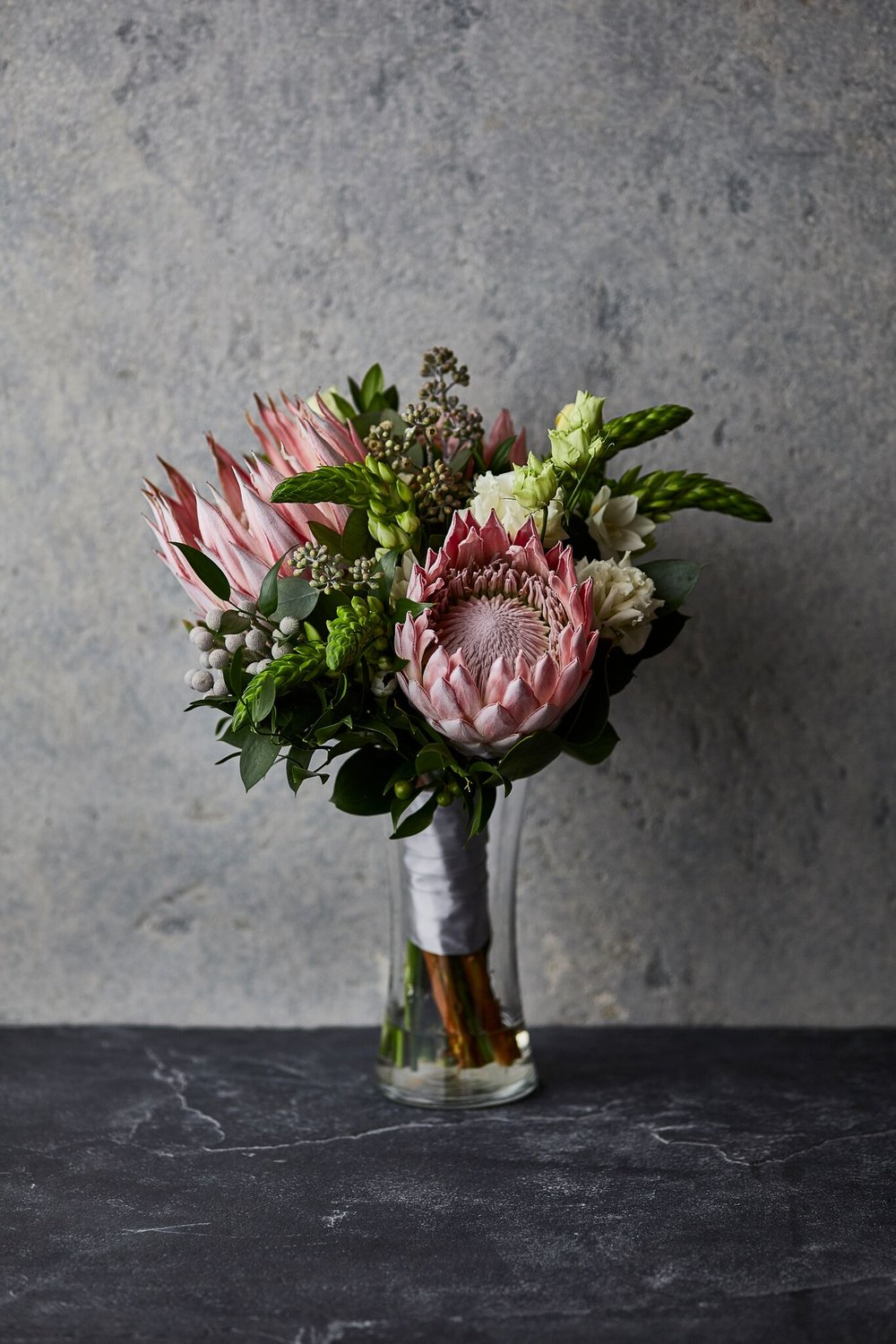 Bold & Modern | Bridal bouquet featuring exotic king protea blooms