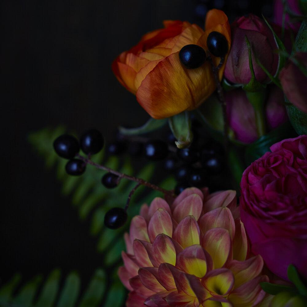 Colour & Plenty | Detail of garden roses & parrot tulips