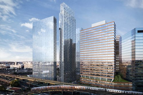 Rendering of Tishman Speyer's planned residential (left) and commercial (right) towers on Jackson Avenue in Long Island City (credit: Tishman Speyer)