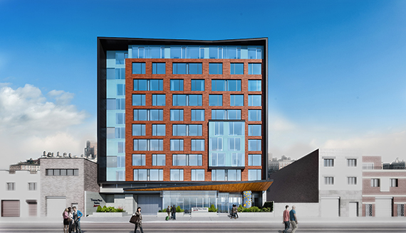 Rendering of Marriott TownePlace Suites, at 38-42 11th Street (credit: think! Architecture and Design and Architectural ID)