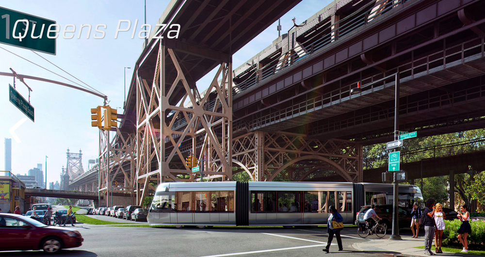 Rendering of the Brooklyn-Queens Connector passing through Queens Plaza (credit: Friends of the Brooklyn Queens Connector)