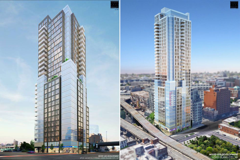 Rendering of Lions Group's planned residential towers at 27-01 Jackson Avenue and 26-32 Jackson Avenue in Long Island City (credit: Raymond Chan)