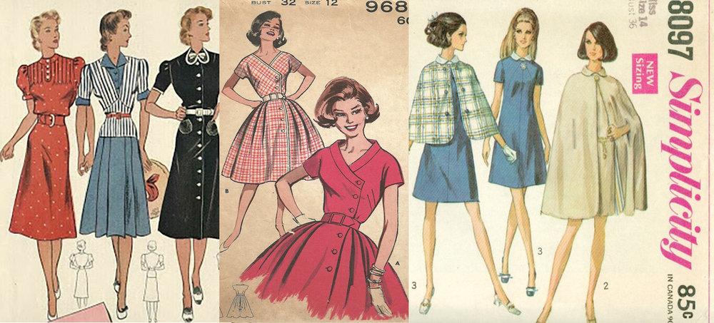 Patrons des années 45's, 50's et du début des années 60's