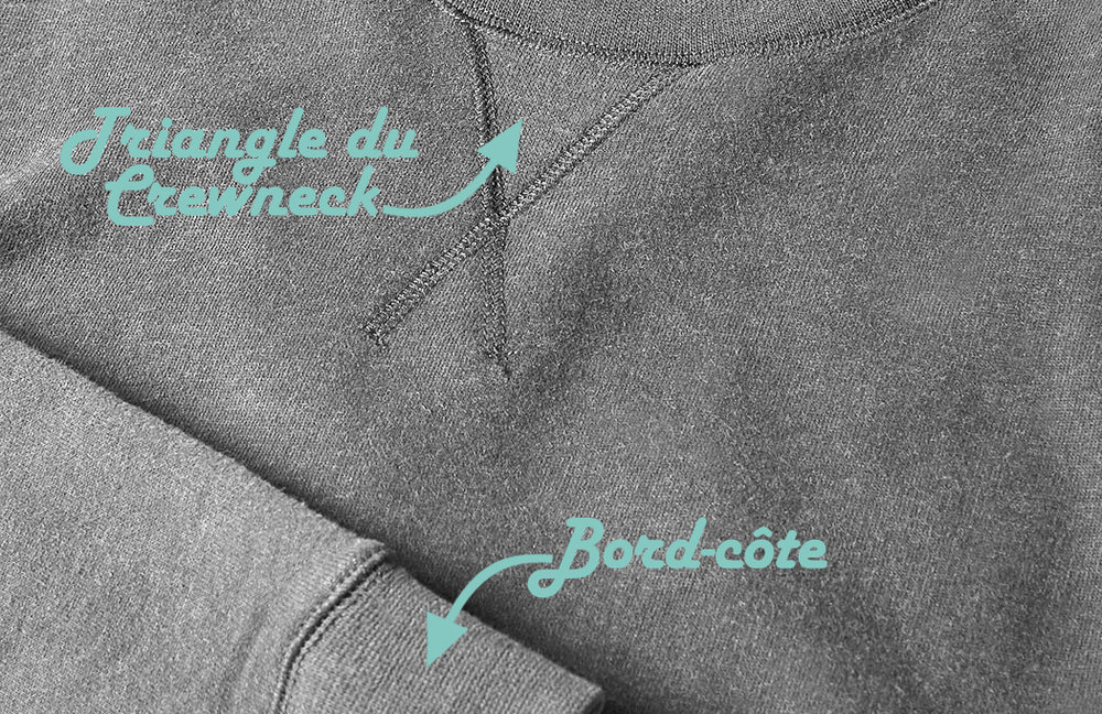 Le triangle de crewneck est fait de deux épaisseurs de molleton, pour récupérer la sueur du cou.