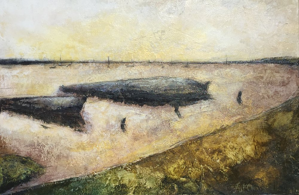 Orford Ness - acrylic and pencil on canvas  60x40cm £250