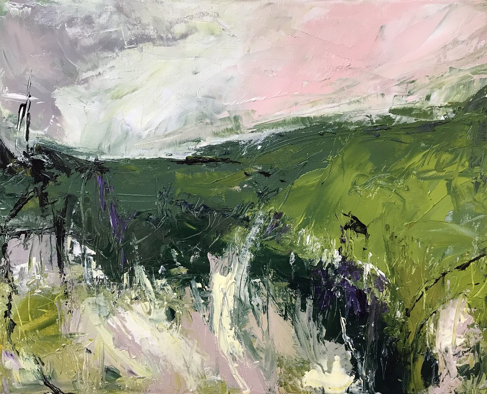 On Fackenden Down - acrylic on canvas    50x40cm   SOLD