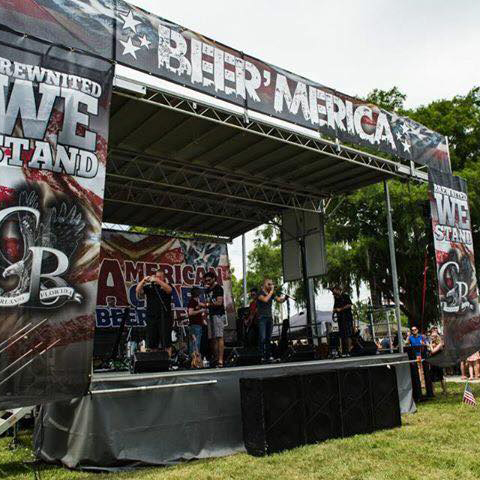 Step Up Productions Beer'merica audio and stage set up